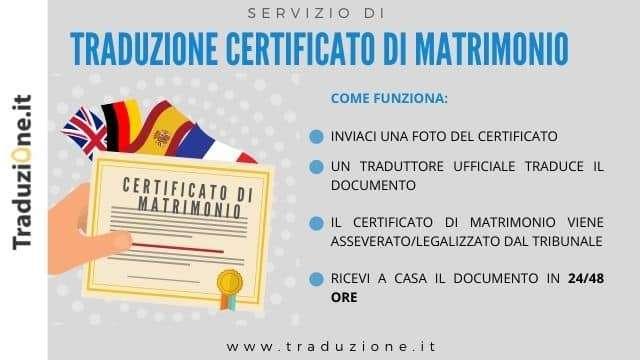 certificato di matrimonio traduzione e asseverazione